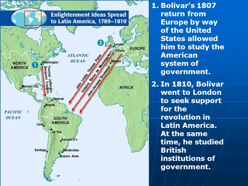 Bolivar's 1807 return from Europe by way of the United States allowed him to study the American system of government.