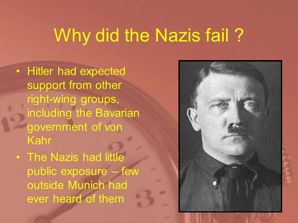 Why did the Nazis fail Hitler had expected support from other right-wing groups, including the Bavarian government of von Kahr.