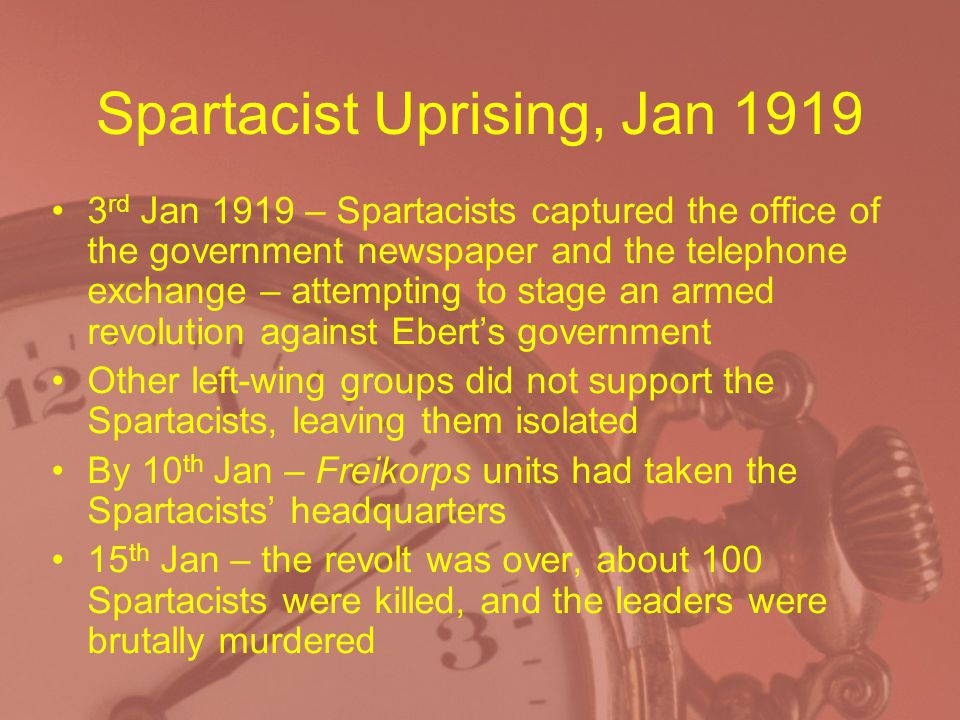 Spartacist Uprising, Jan 1919