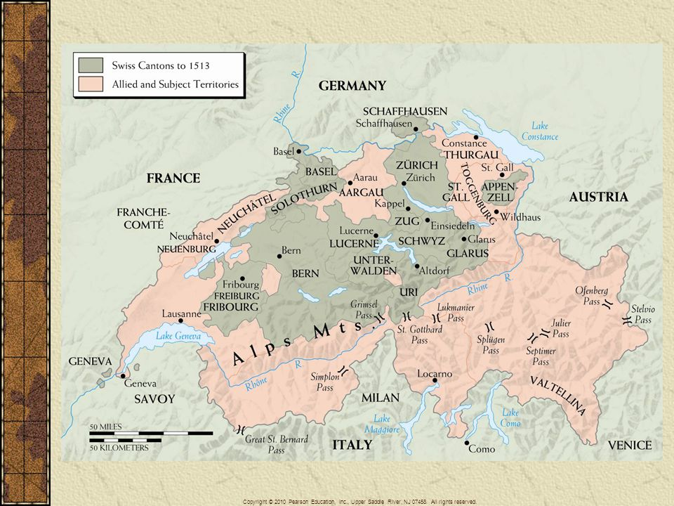 Map 11–2 THE SWISS CONFEDERATION Although nominally still a part of the Holy Roman Empire, Switzerland grew from a loose defensive union of the central forest cantons in the thirteenth century into a fiercely independent association of regions with different languages, histories, and, finally, religions.