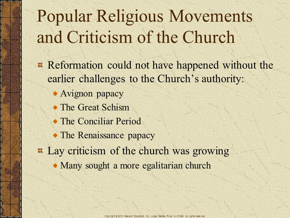 Popular Religious Movements and Criticism of the Church