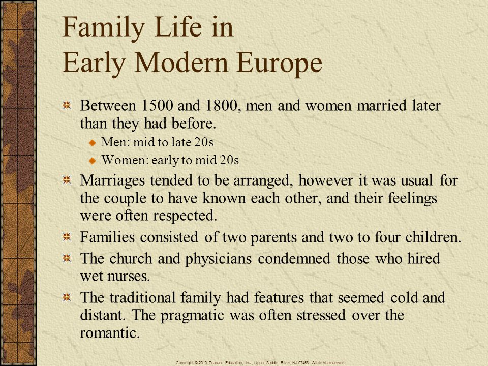Family Life in Early Modern Europe