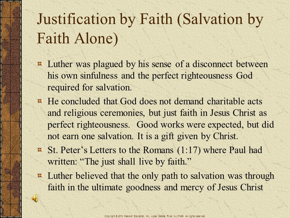 Justification by Faith (Salvation by Faith Alone)