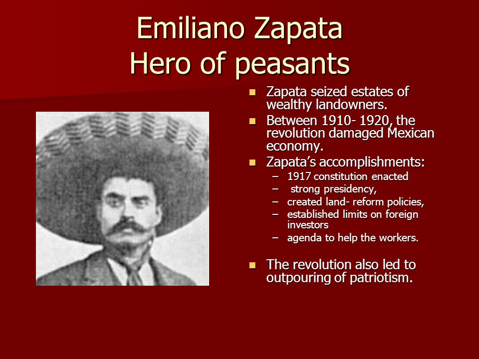 the ideology of a peasant revolutionary zapata The aims, methods and ideologies of organized due to his revolutionary under the diaz regime to the peasant workers zapata had an intense.