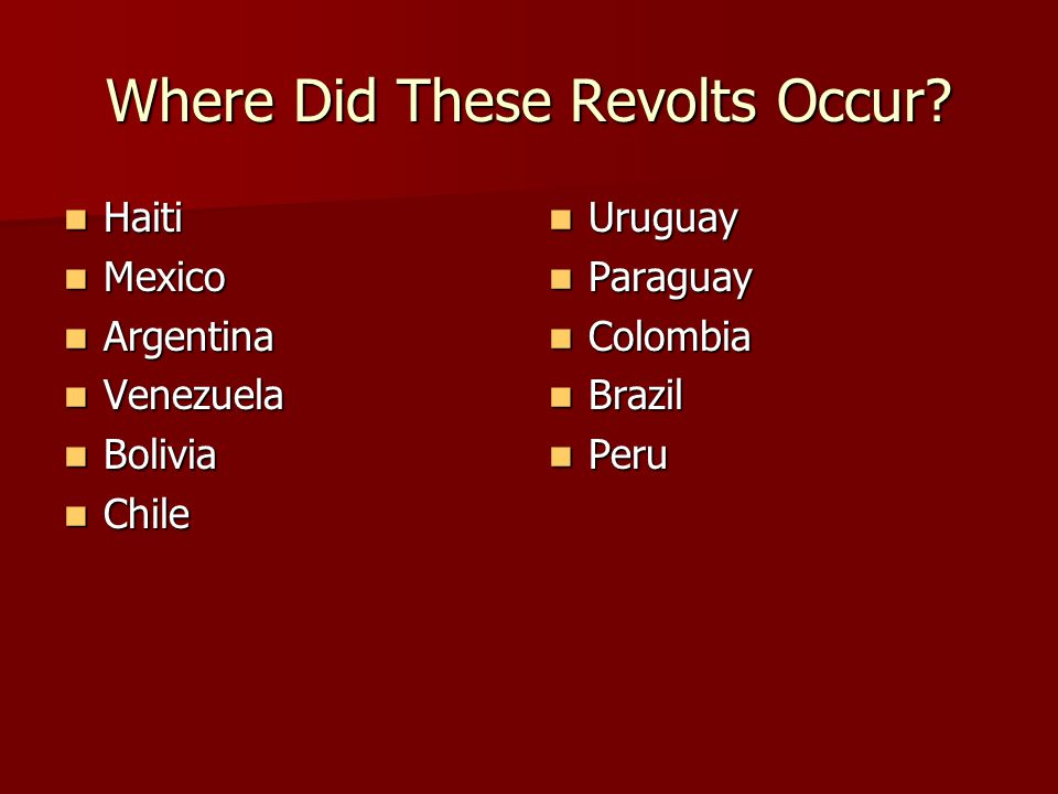 Where Did These Revolts Occur