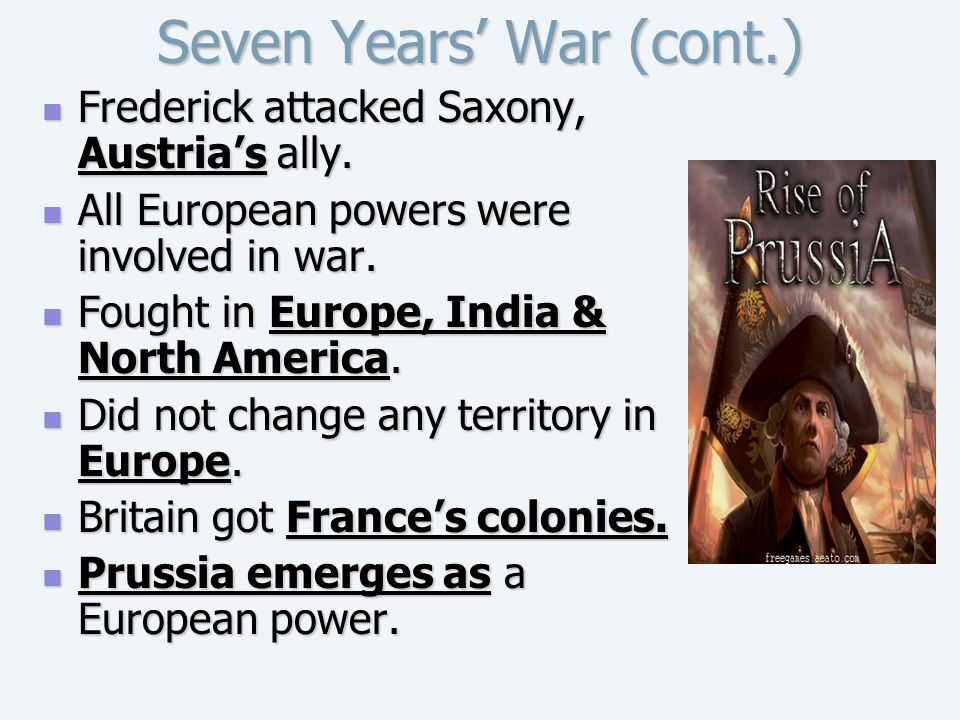 Seven Years' War (cont.)