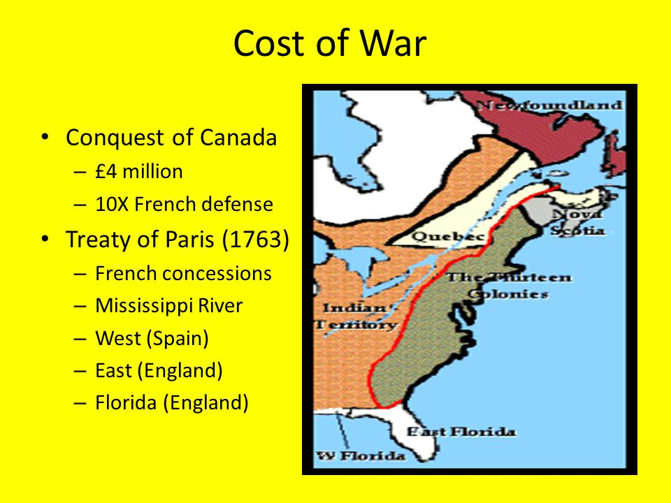 Cost of War Conquest of Canada Treaty of Paris (1763) £4 million