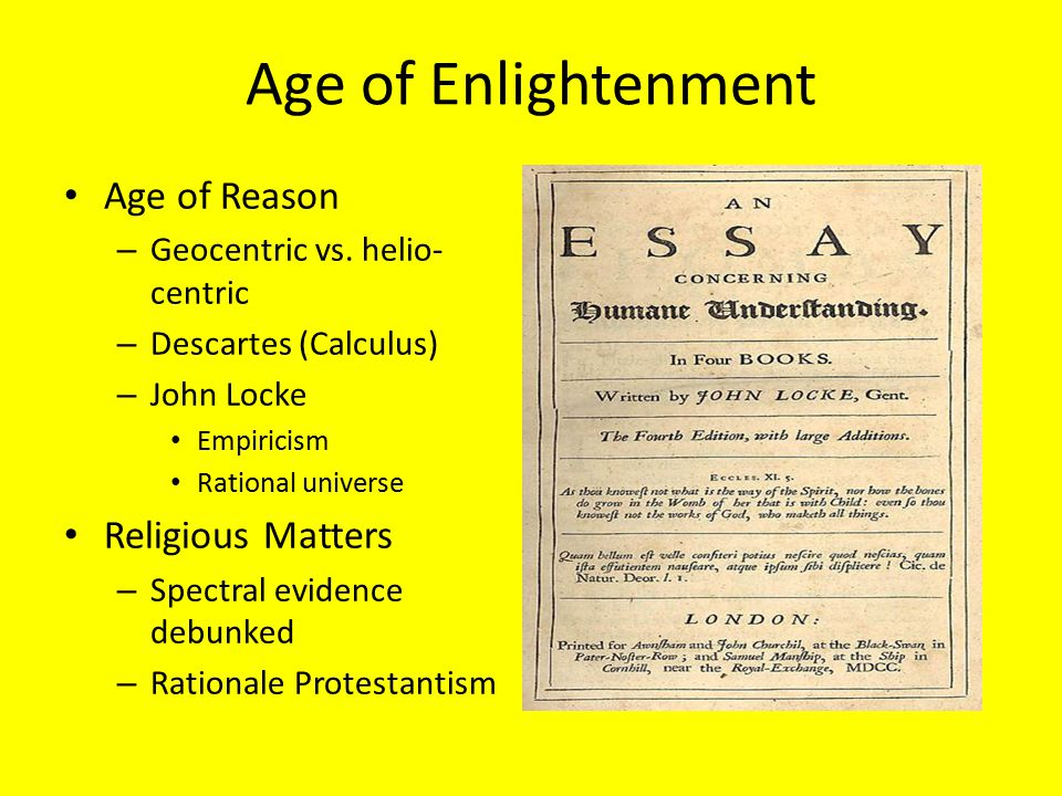 Age of Enlightenment Age of Reason Religious Matters