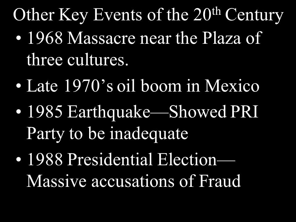 Other Key Events of the 20th Century