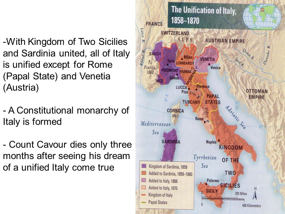 With Kingdom of Two Sicilies and Sardinia united, all of Italy is unified except for Rome (Papal State) and Venetia (Austria)
