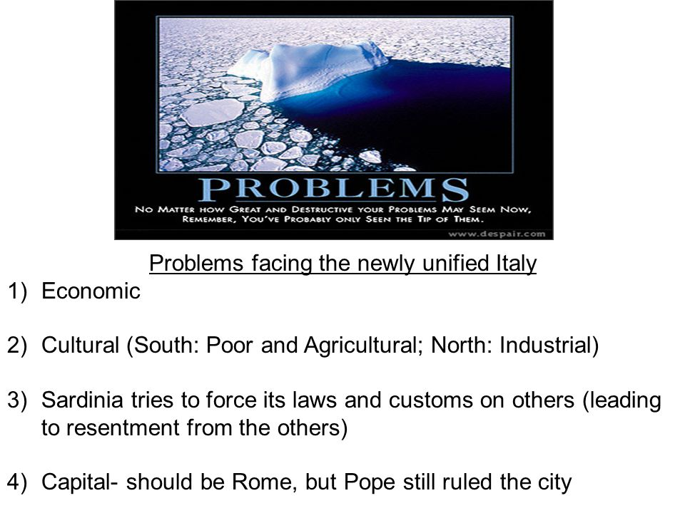 Problems facing the newly unified Italy