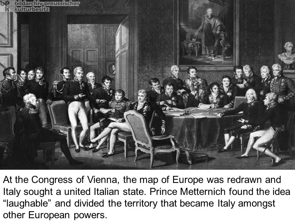 At the Congress of Vienna, the map of Europe was redrawn and Italy sought a united Italian state.