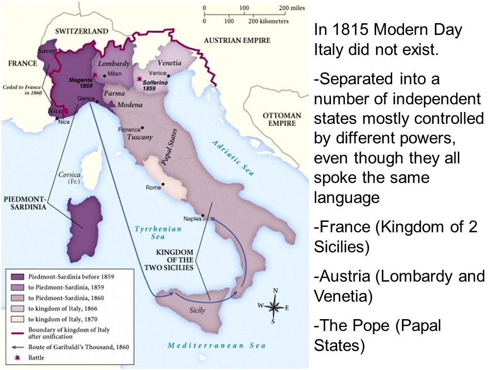 In 1815 Modern Day Italy did not exist.