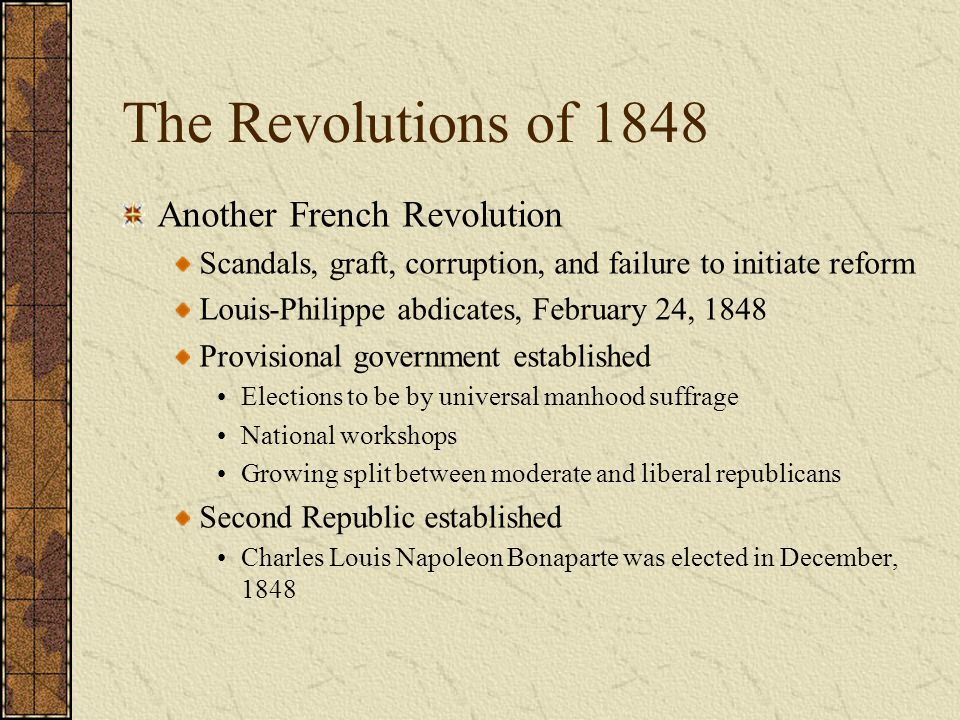 The Revolutions of 1848 Another French Revolution
