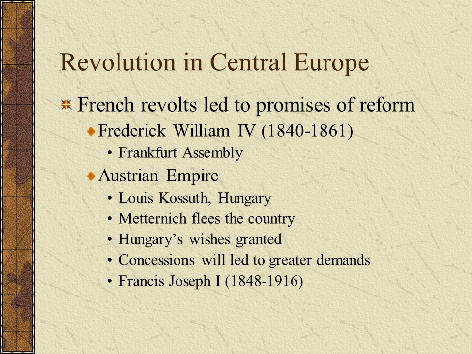 Revolution in Central Europe