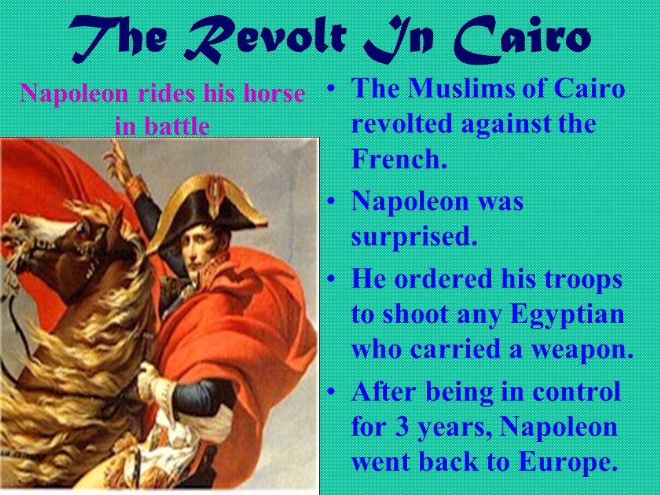 Napoleon rides his horse in battle