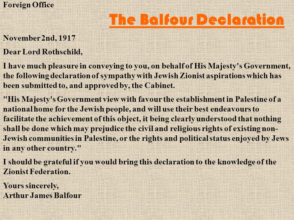 Foreign Office The Balfour Declaration