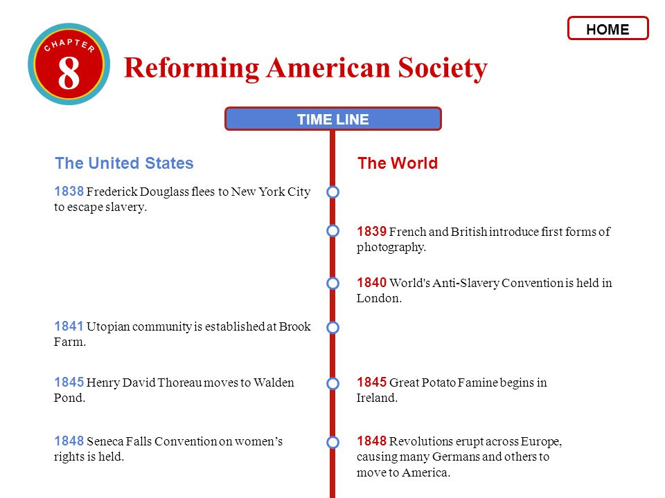 8 Reforming American Society The United States The World HOME