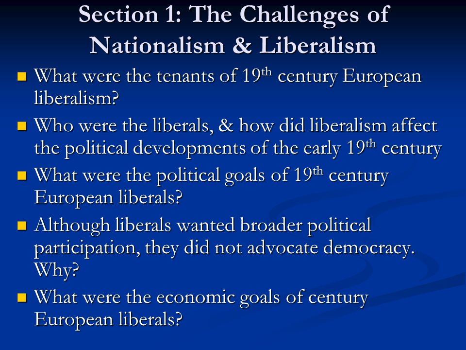 Section 1: The Challenges of Nationalism & Liberalism