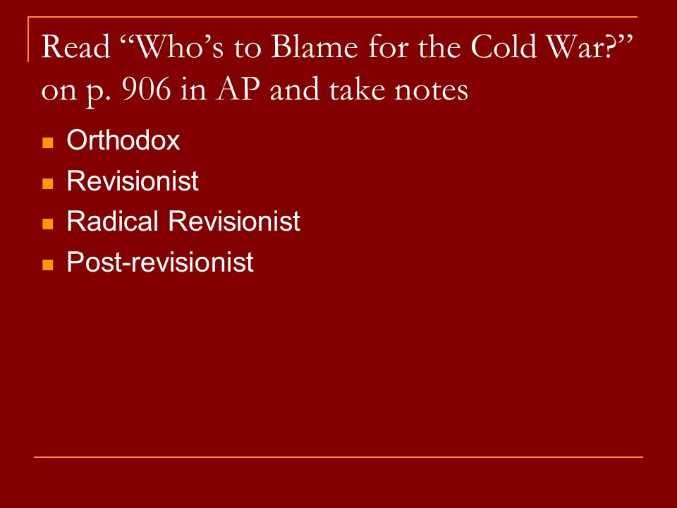 who is to blame for cold war essay The cold war is the name that is given to the relationship between the ussr and the usa after world war ii it was essentially an ideological struggle between the.