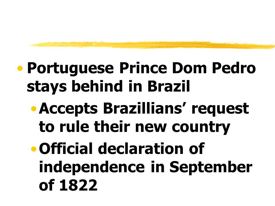 Portuguese Prince Dom Pedro stays behind in Brazil