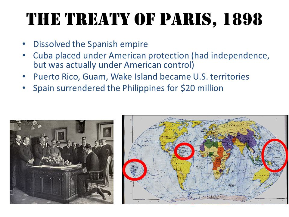 The Treaty OF Paris, 1898 Dissolved the Spanish empire