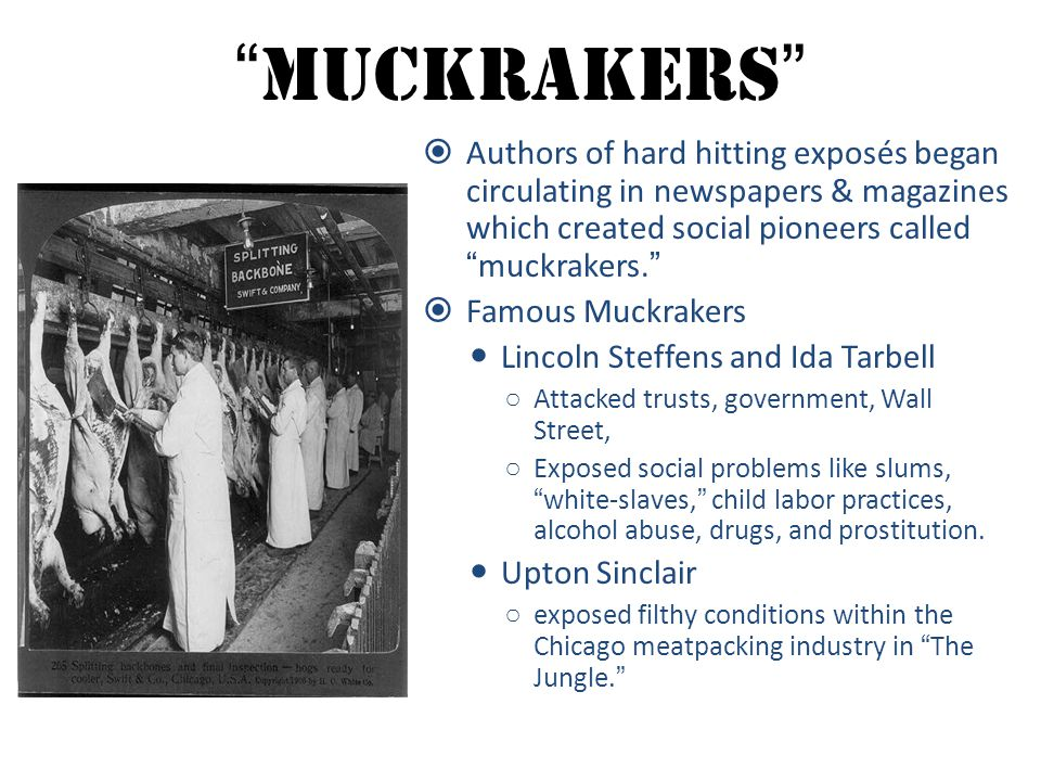 Muckrakers Authors of hard hitting exposés began circulating in newspapers & magazines which created social pioneers called muckrakers.