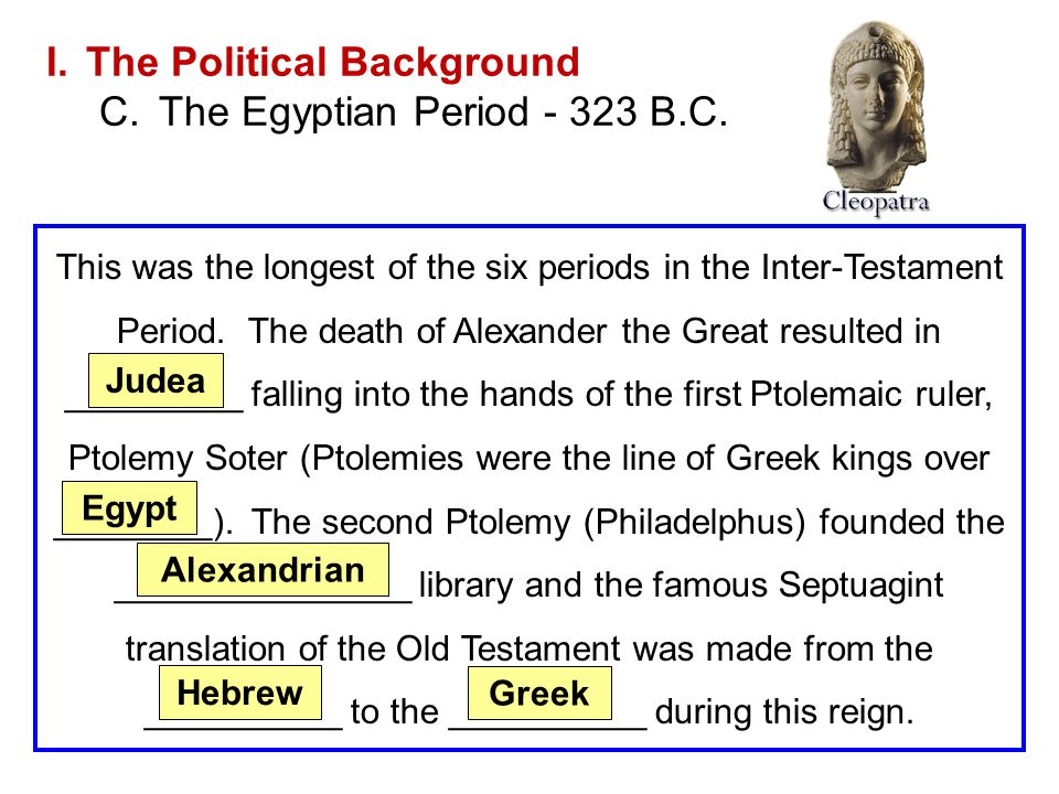 The Political Background The Egyptian Period - 323 B.C.