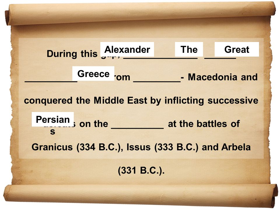 During this gap, ______________ ______ __________ came from _________- Macedonia and conquered the Middle East by inflicting successive defeats on the __________ at the battles of Granicus (334 B.C.), Issus (333 B.C.) and Arbela (331 B.C.).