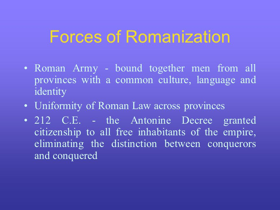 Forces of Romanization