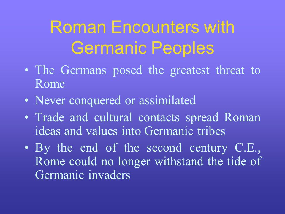 Roman Encounters with Germanic Peoples