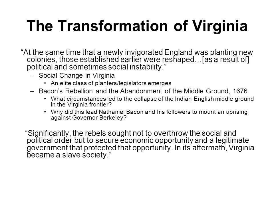 The Transformation of Virginia