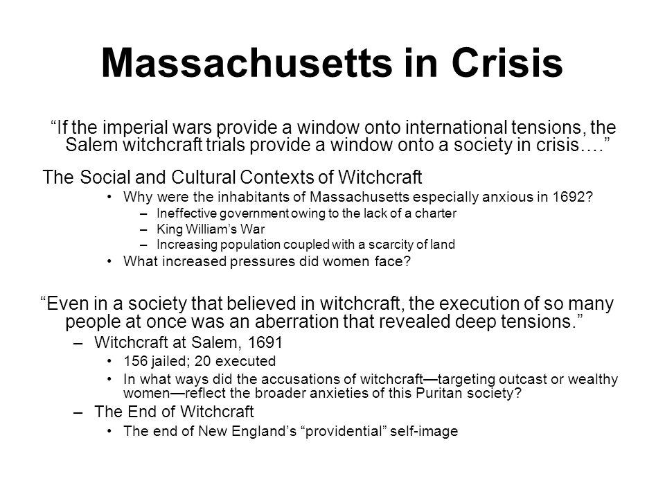 Massachusetts in Crisis