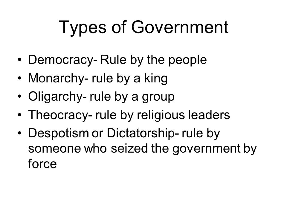 Types of Government Democracy- Rule by the people