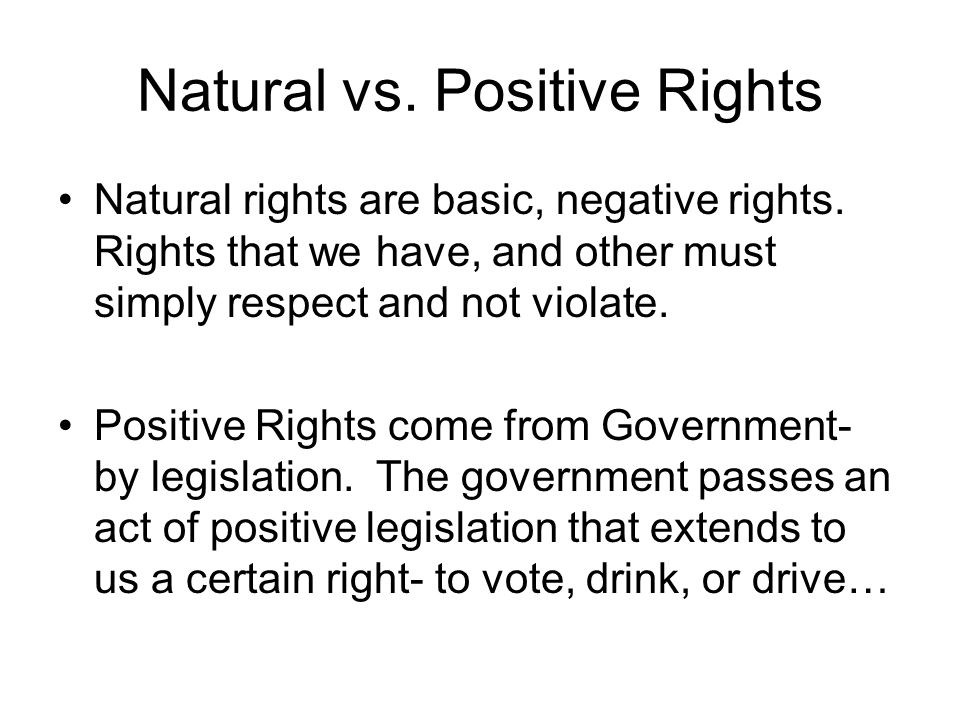 Natural vs. Positive Rights