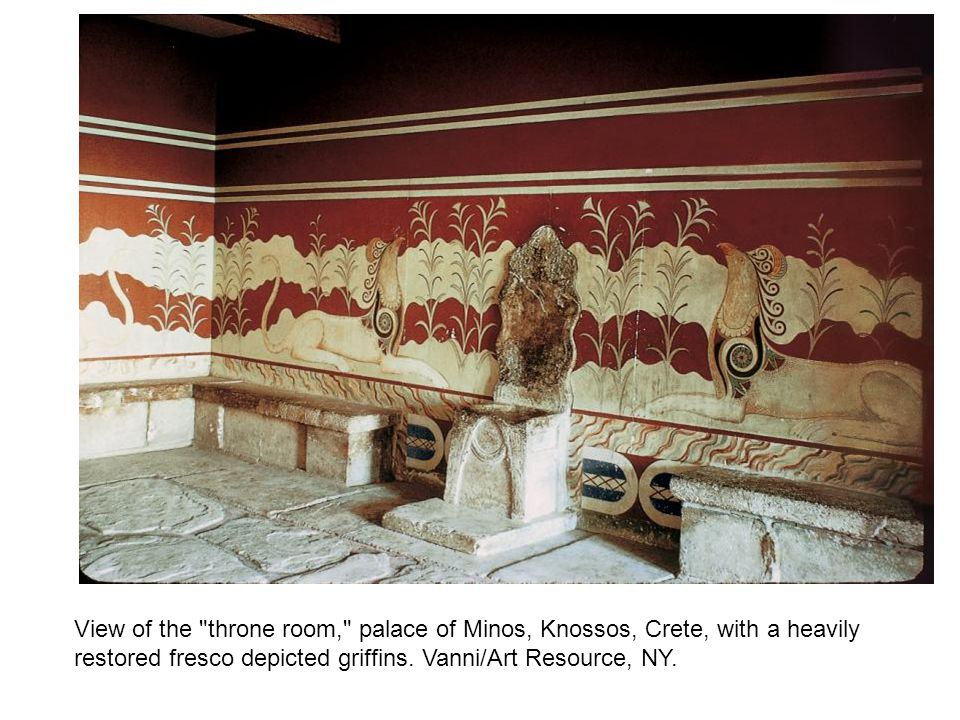 View of the throne room, palace of Minos, Knossos, Crete, with a heavily restored fresco depicted griffins.