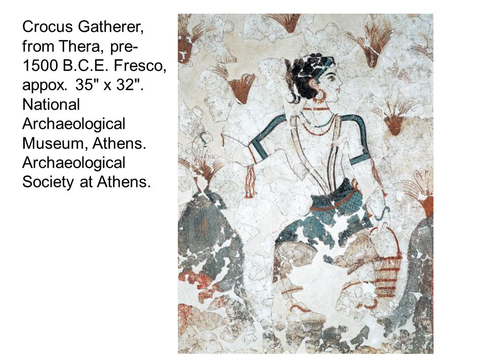 Crocus Gatherer, from Thera, pre-1500 B.C.E. Fresco, appox.