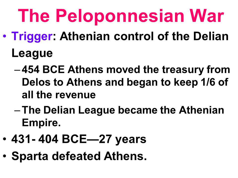 The Peloponnesian War Trigger: Athenian control of the Delian League