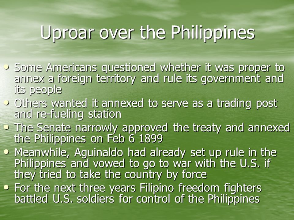 Uproar over the Philippines