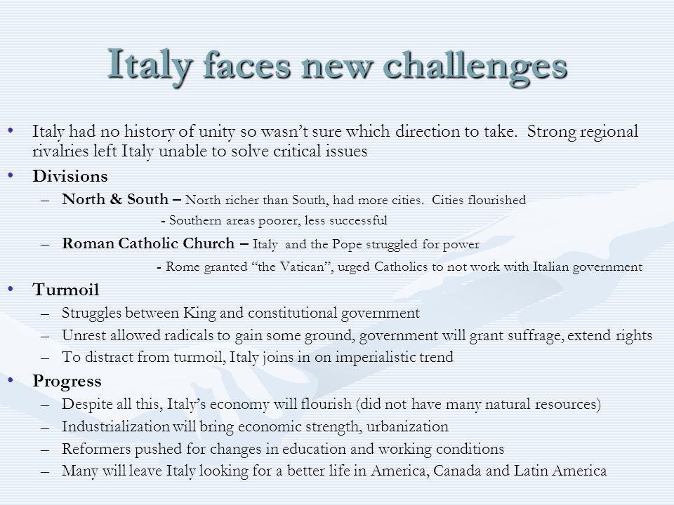 Italy faces new challenges