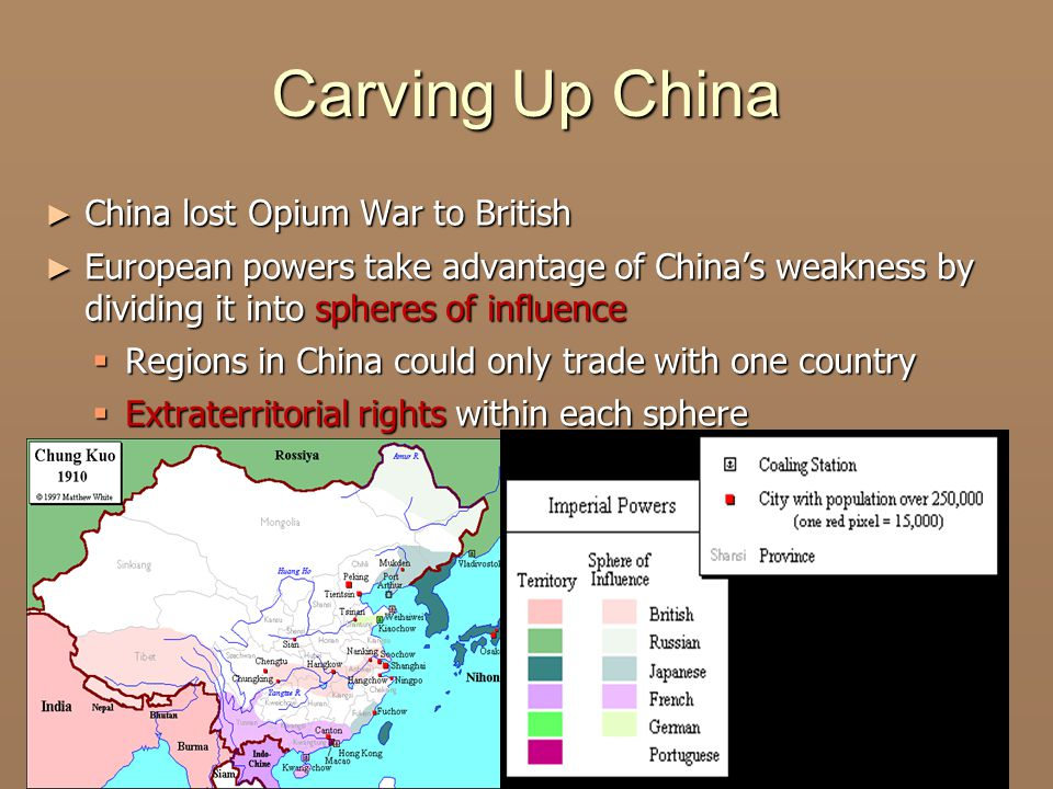 Carving Up China China lost Opium War to British