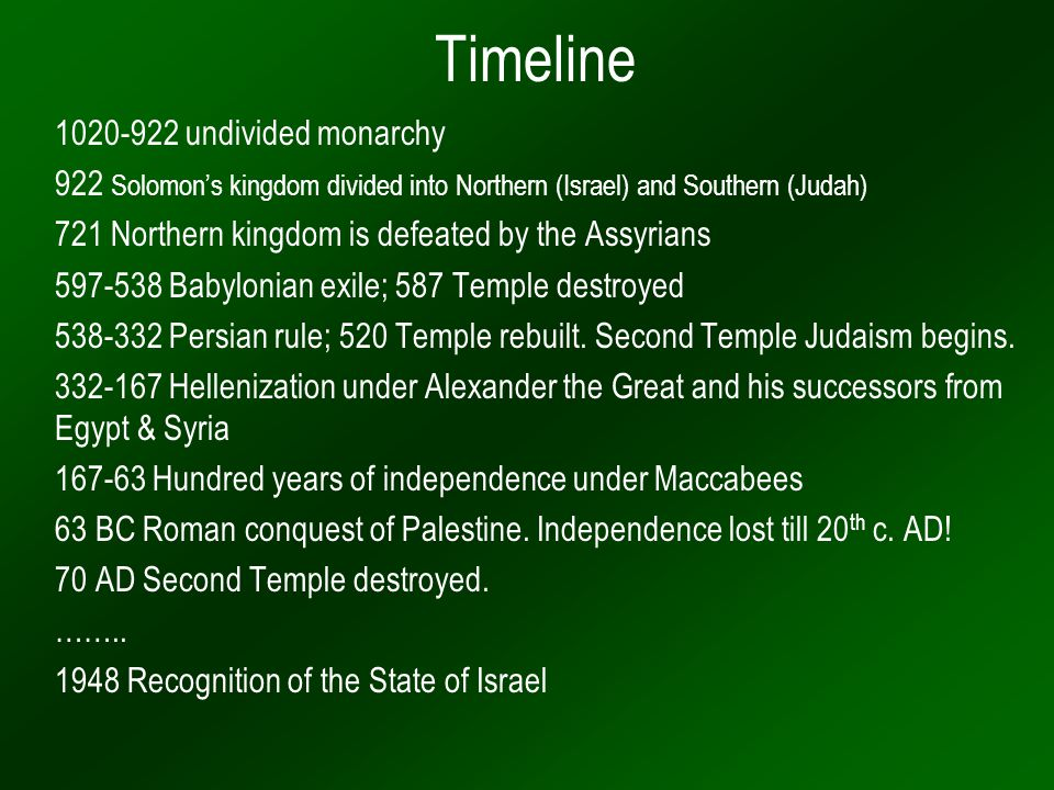 Timeline 1020-922 undivided monarchy