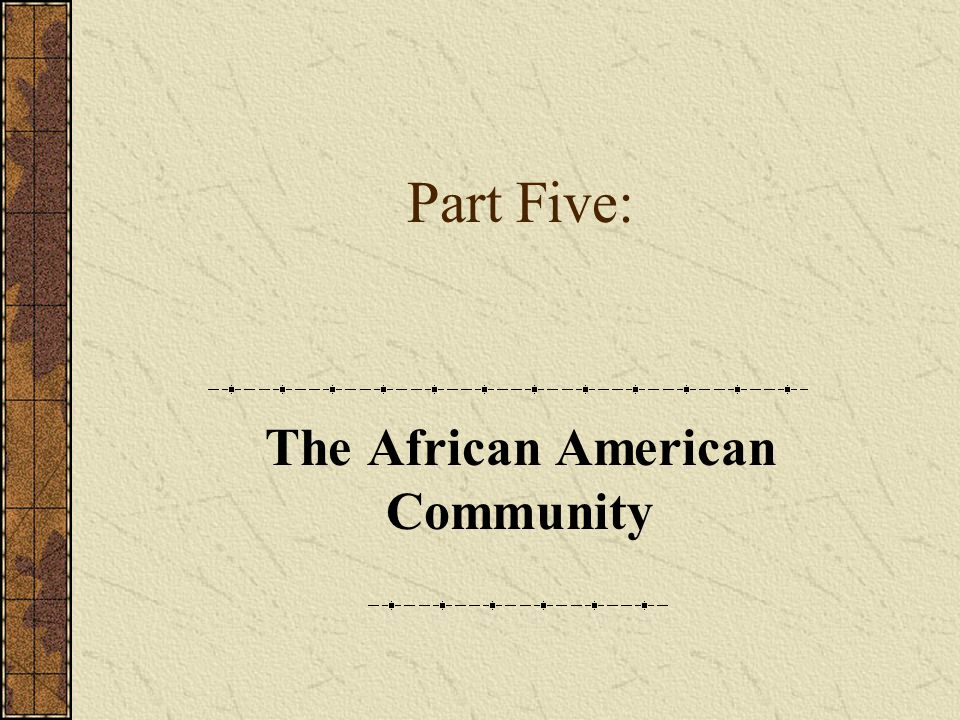 The African American Community