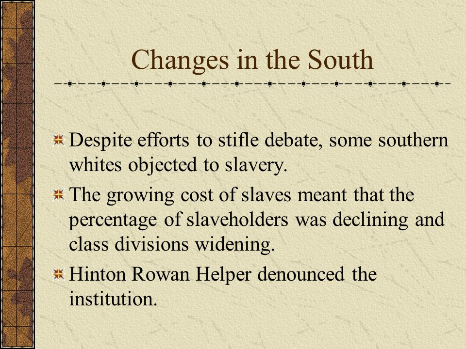 Changes in the South Despite efforts to stifle debate, some southern whites objected to slavery.