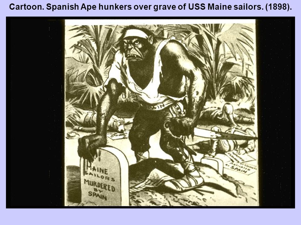 Cartoon. Spanish Ape hunkers over grave of USS Maine sailors. (1898).