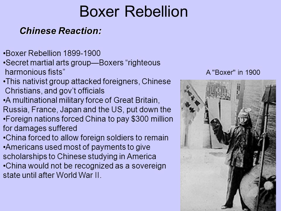 Boxer Rebellion Chinese Reaction: Boxer Rebellion 1899-1900