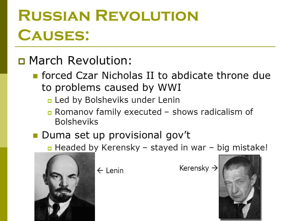 causes of the bolshevik revolution Bolshevik revolution why the bolsheviks wanted reform and how they changed their goverment and how long they were successful we are the leading academic assignments writing company, buy this assignment or any other assignment from us and we will guarantee an a+ grade.