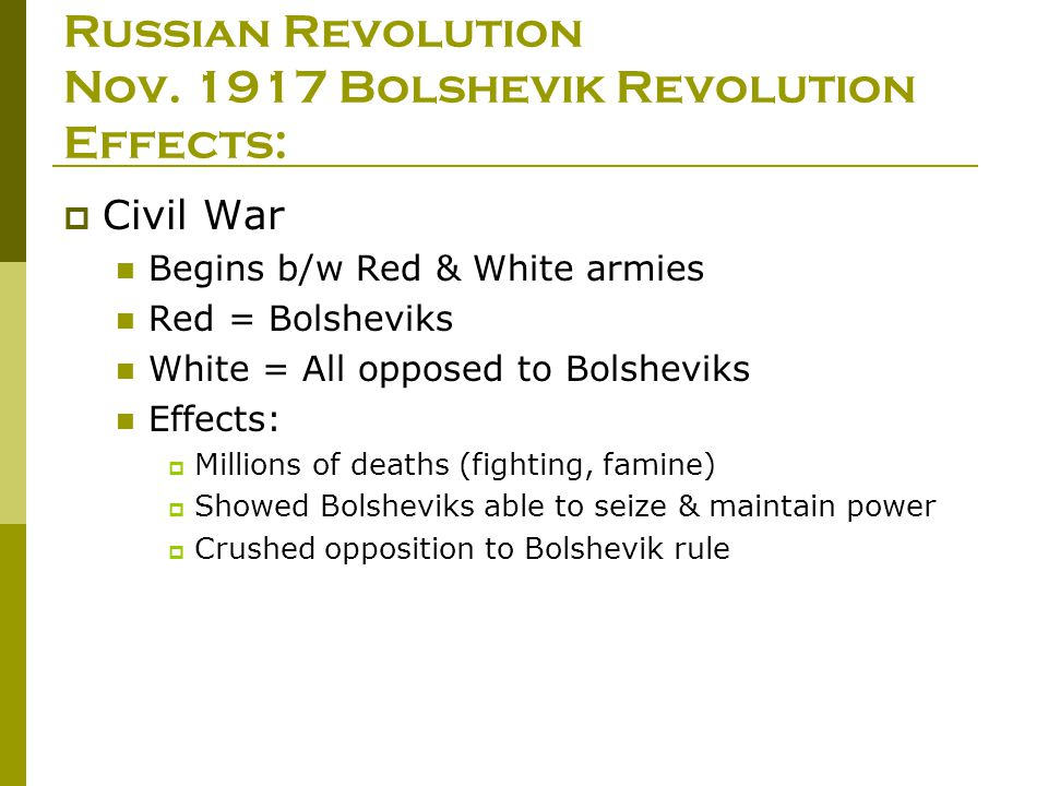 Russian revolution aftermath