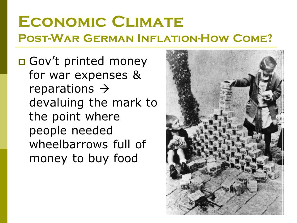 Economic Climate Post-War German Inflation-How Come