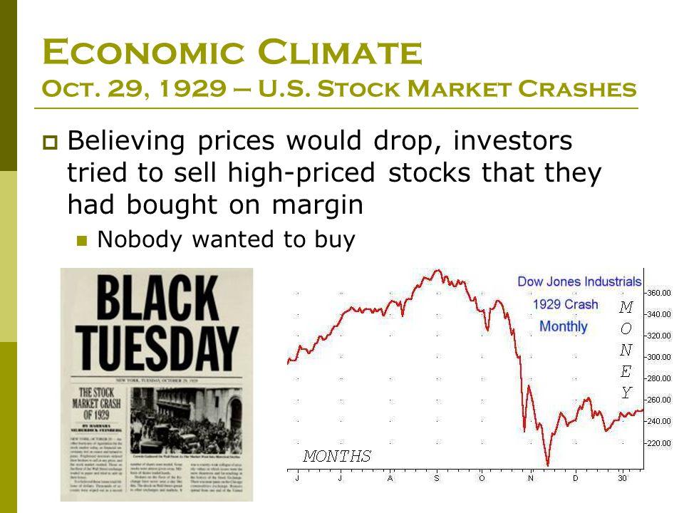 Economic Climate Oct. 29, 1929 – U.S. Stock Market Crashes